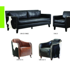 vintage Sofa In Black Leather